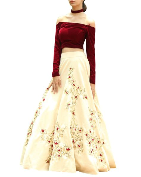 Homedesigner shop designer croptop and lehenga adorned with sequins