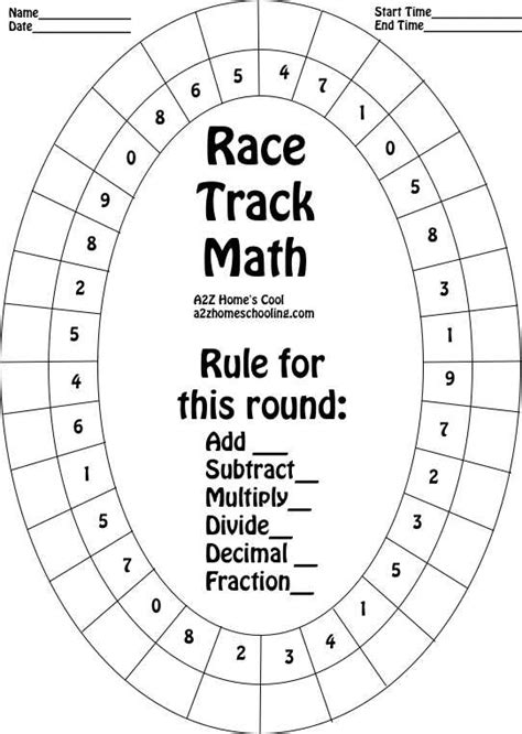 Board Geometry Outline by Race Track Math Board Worksheet For Practicing Math Facts A2z Homeschooling
