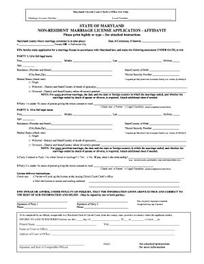 Mdcourts Gov Search Fillable Mdcourts Non Resident Marriage License Application Maryland