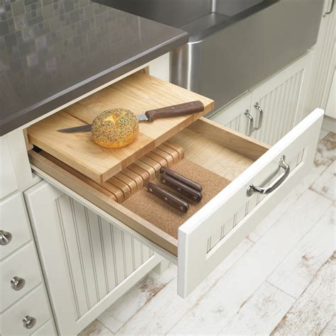 built in cutting board new initiatives from merillat show homeowners how to