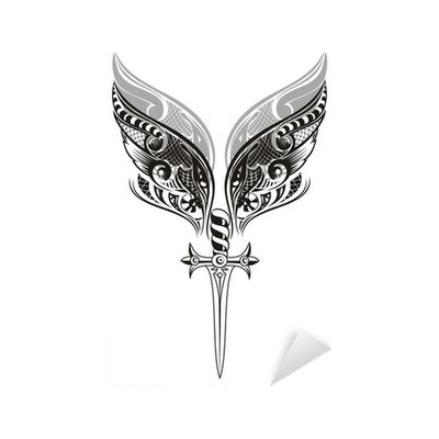 sword tattoo png wings and sword tattoo design sticker pixers 174 we live