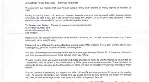 Insurance Excess Letter Car Hire Excess Insurance Don T Forget To Renew Your Annual Car Hire Insurance