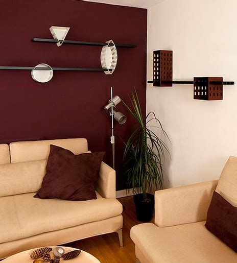 maroon wall paint living room shelves design ideas to boost your decoration