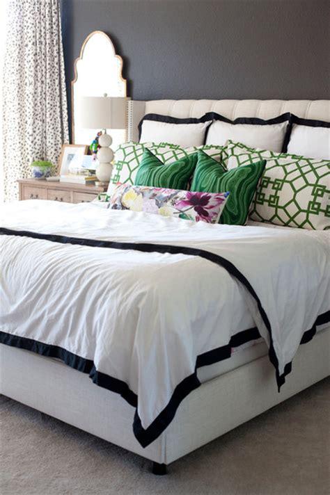 modern black white green bedroom