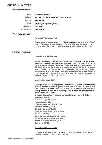 Curriculum Vitae Formato Europeo Openoffice formato europeo per il curriculum vitae istituto clinico citt 195 studi