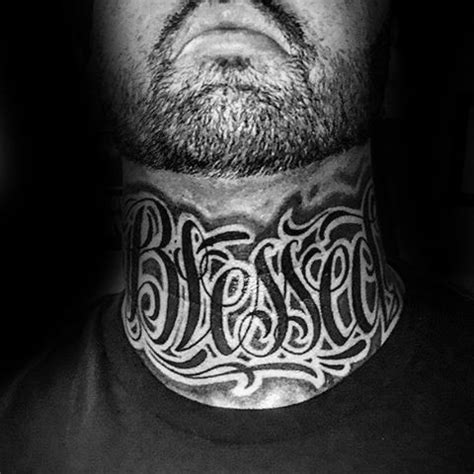 neck tattoo fonts 60 blessed tattoos for men biblical lettering design