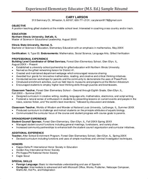 resume sles for teachers with experience elementary resume template 7 free word pdf