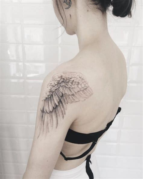 wing shoulder tattoo wing on shoulder designs ideas and meaning