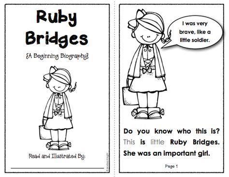 coloring page for ruby bridges beginning biographies student books notes questions