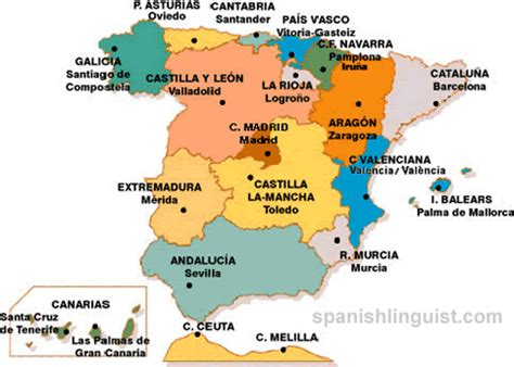 map of spain and regions spain s region map cities provinces