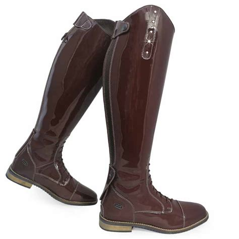 comfortable tall boots crystal patent leather look showing jumping comfort tall