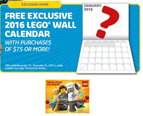 Calendar Coupons Lego Calendar Coupons Calendar Template 2016