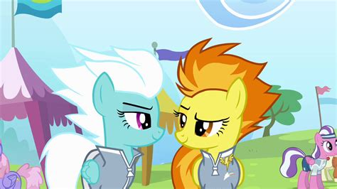 my little pony wonderbolts fleetfoot image fleetfoot and spitfire look at each other s4e10