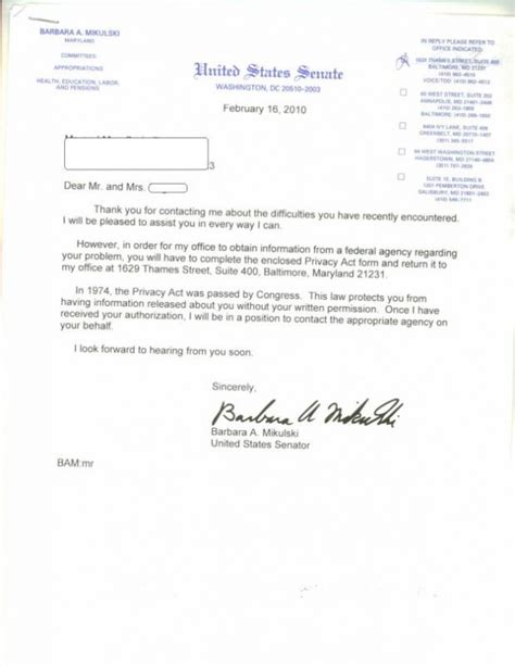 Request Letter To Fill Up Form Letters To Senators Responses Craig Ging S Home On The Web