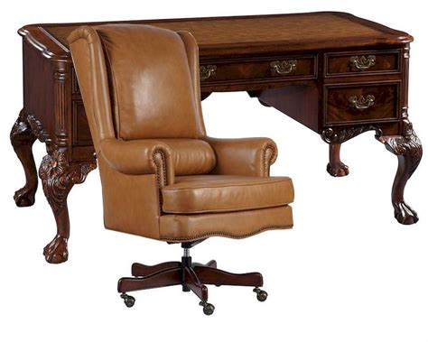 Office Set W Leather Top Writing Desk By Hekman He 73992 Set Office Desk Leather Top