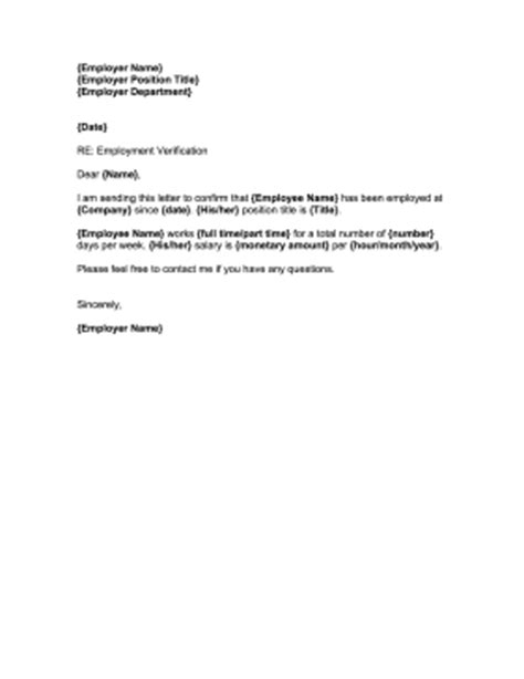 Employment Letter Confirmation Sle Employment Confirmation Letter Template