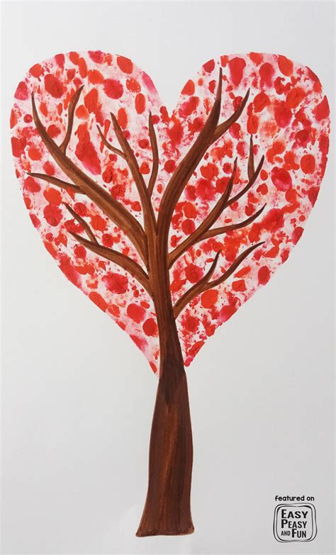 valentines for valentines day fingerprint tree craft easy peasy