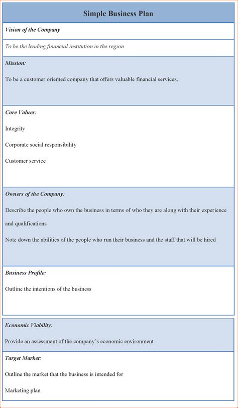 simple plan template 8 business plan template word bookletemplate org