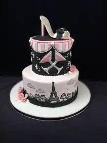 eiffel tower custom cake pink black high heel