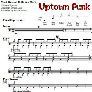 Drum Tutorial For Uptown Funk | drum sheet music onlinedrummer com