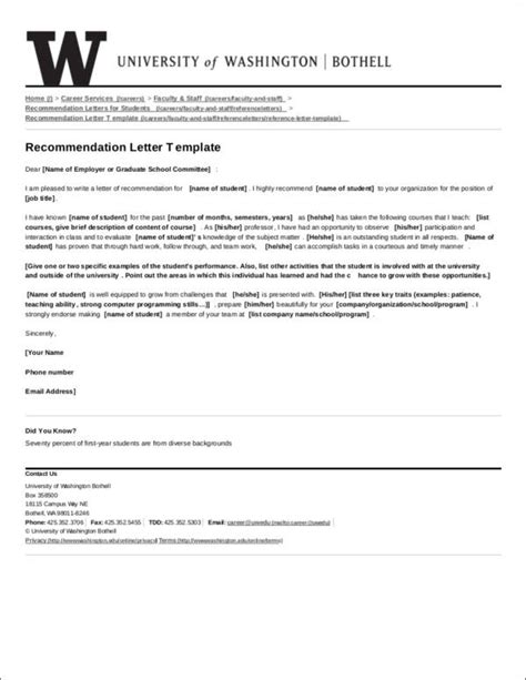 letter recommendation samples ms word