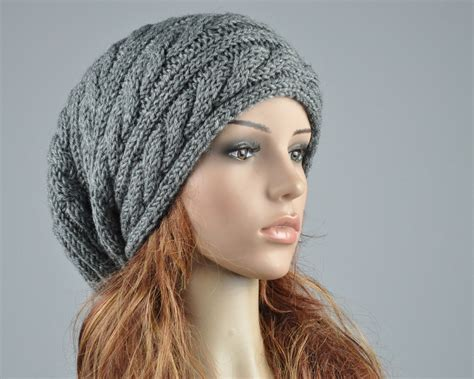 cable knit slouchy hat pattern knit hat charcoal hat slouchy hat cable pattern by