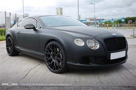 bentley black and bentley continental gt in matte black rides on pur wheels