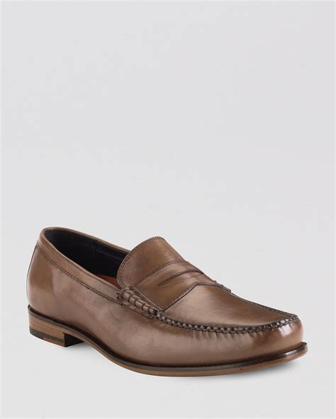 cole haan loafers mens cole haan hudson leather loafers in brown for lyst