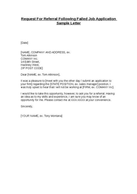 Request For Referral Following Failed Job Application