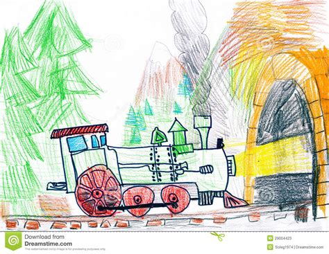 Subway Gift Card To Steam - steam train goes to subway child s drawing stock photos image 29004423