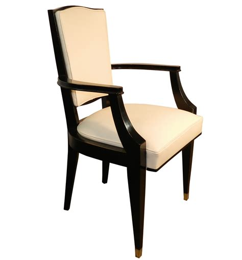 white leather deco armchairs by jean pascaud set of 6