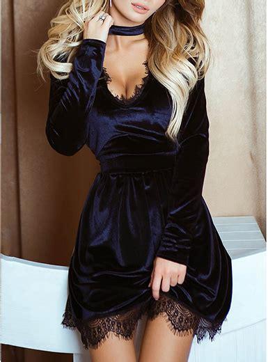 Velvet Lace Trim Mini Dress velvet mini dress black lace trim sleeves black