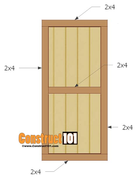 Shed Door Plans Step By Step Construct101 Build A Barn Door Plans