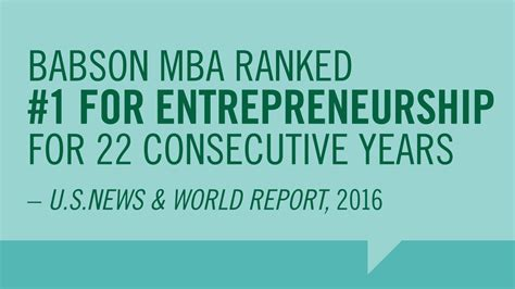 Mba And Entrepreneurship by U S News Ranking Mba Number 1 Entrepreneurship Babson