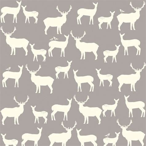 Elk Pattern Fabric   birch fabrics elk family shroom gray grey woodland deer