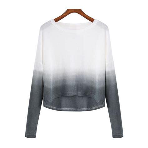 Longsleevetop Whitegrey 15325 shein sheinside grey white ombre neck crop knitwear