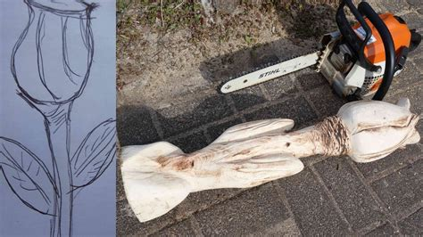 larscarving holzblume mit der motorsaege schnitzen chainsaw