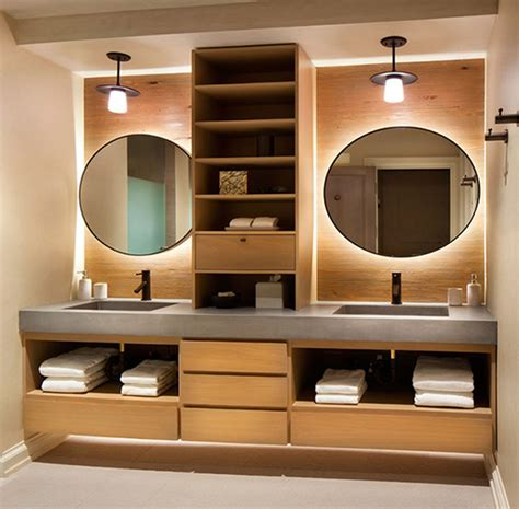 Separate A Double Sink Vanity With Wood Shelves Contemporist Vanity With Shelves