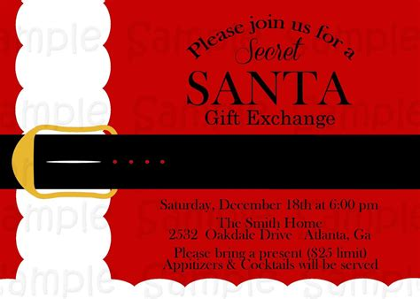 secret santa gift exchange template secret santa invitation template diabetesmang info