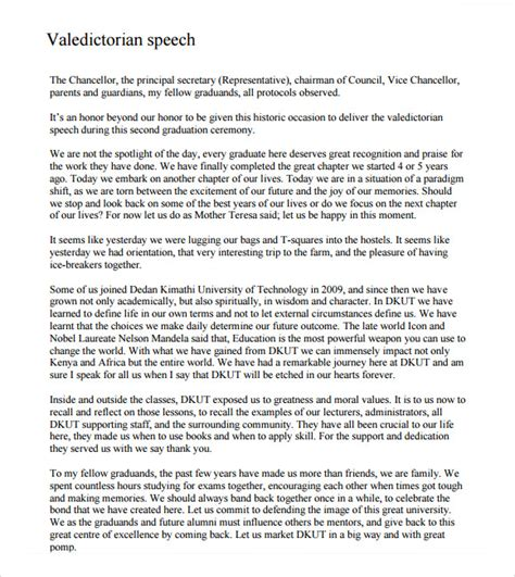 valedictorian speech template 11 valedictorian speech exles pdf sle templates