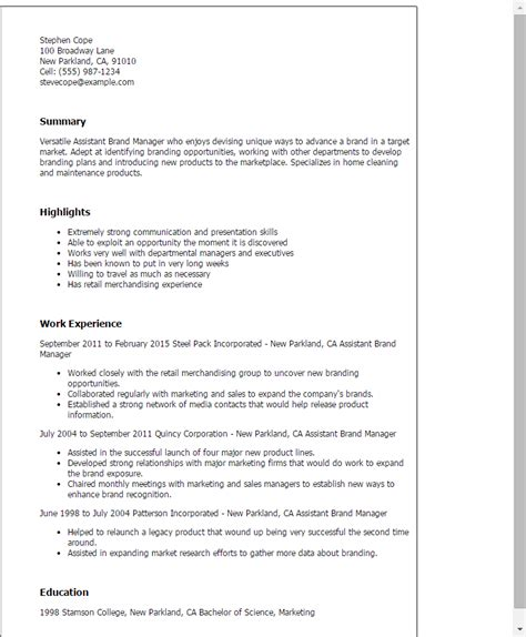 Associate Brand Manager Sle Resume by Professional Assistant Brand Manager Templates To Showcase Your Talent Myperfectresume