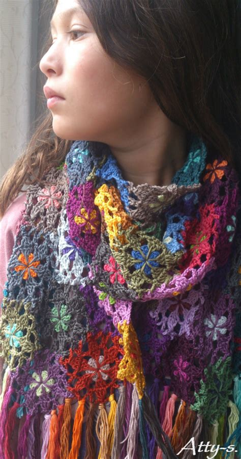 Pashmina Motif Flowers 1 atty s crochet flower scarf made with leftovers