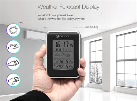 Jam Alarm Led Thermometer Hygrometer Forecast Weather Station digoo dg th1981 weather station outdoor forecast sensor hygrometer thermometer ebay