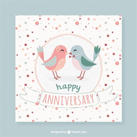 20 happy anniversary cards free lovely birds dotted anniversary card vector free