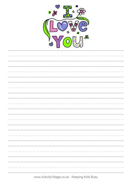 S Day Lined Paper Template Card by Writing Paper For S Day Available Blank