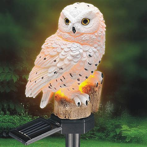 new garden solar panel white owl light up yard decor