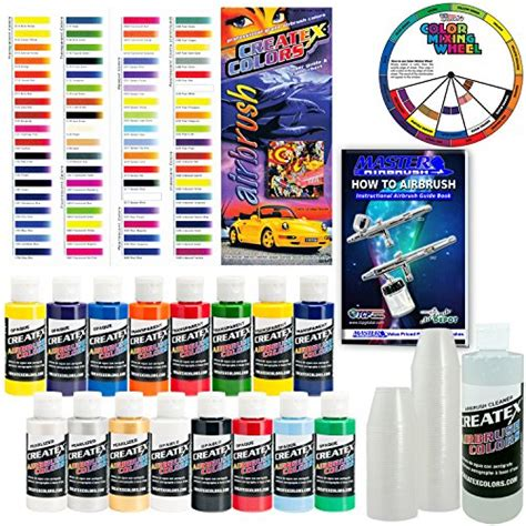 createx kit super16 airbrush starter kit with pack of 100 1 ounce paint mixing cups
