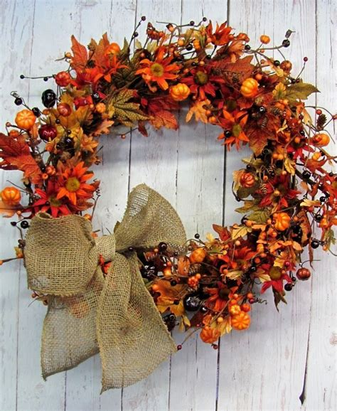 Fall Front Door Wreaths Fall Floral Berry Wreath Front Door Wreath Autumn Wreath Thanksgiving Ebay