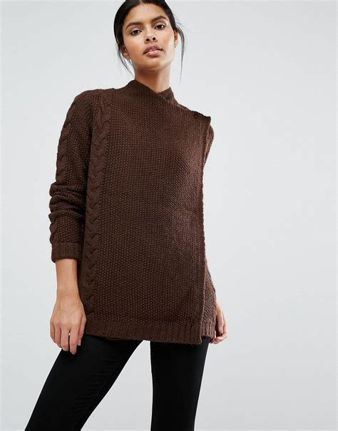 brown cable knit jumper vila wrap cable knit jumper in brown lyst