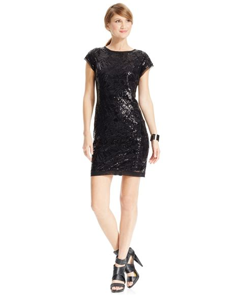 dress cap sleeve beaded sequin gown vince camuto sequined cap sleeve sheath dress in black lyst